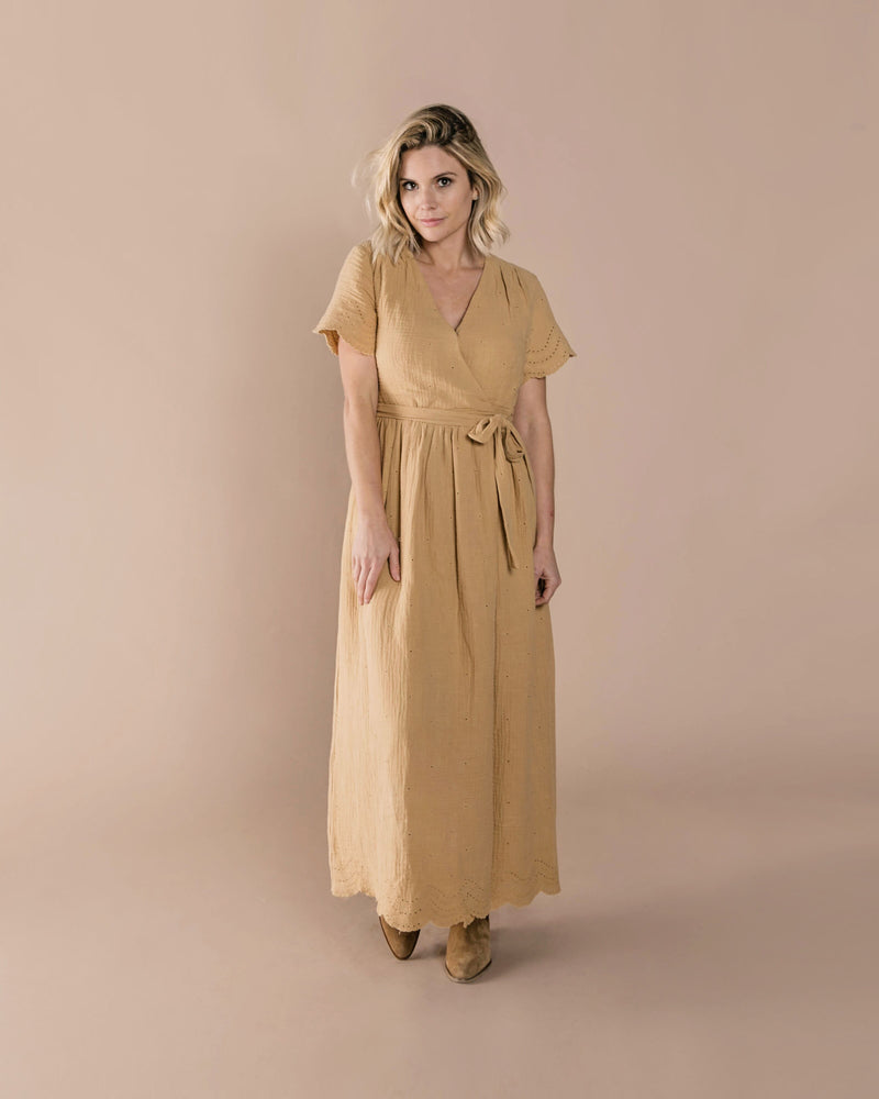 Eyelet Wrap Dress Honey (3799691427893)