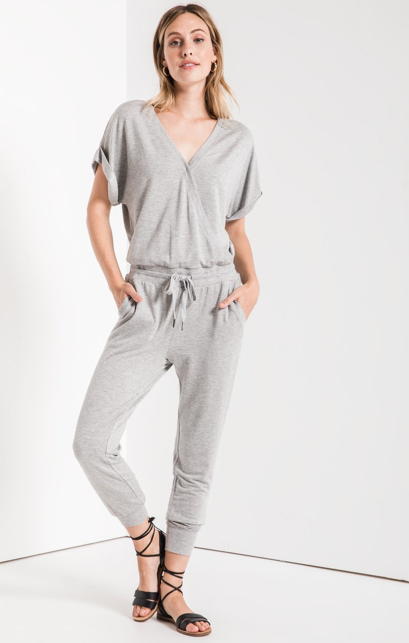 The Wrap Front Jumpsuit Heather Gray (3767712645173)