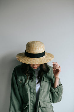 Faye Short Straw Boater Hat