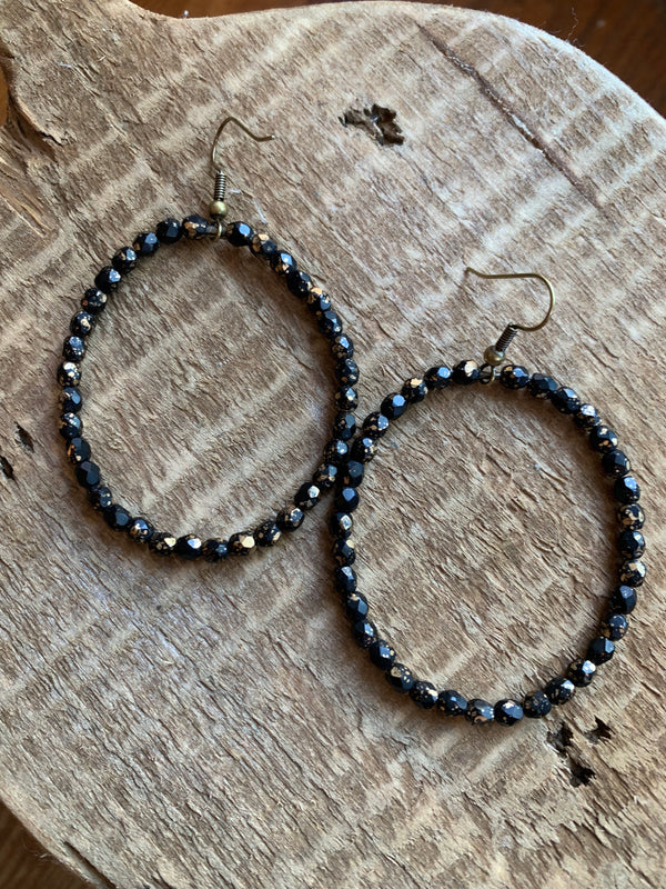 Big Crystal Hoop Earring Midnight