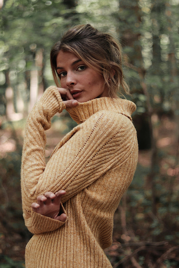 Keeley Ribbed Turtleneck Sweater Top Mustard