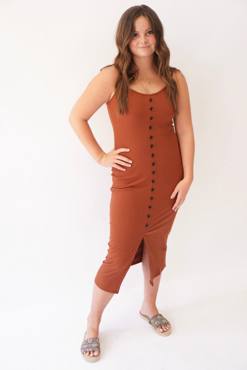 Button Up Straight Dress Rust (3764044398645)