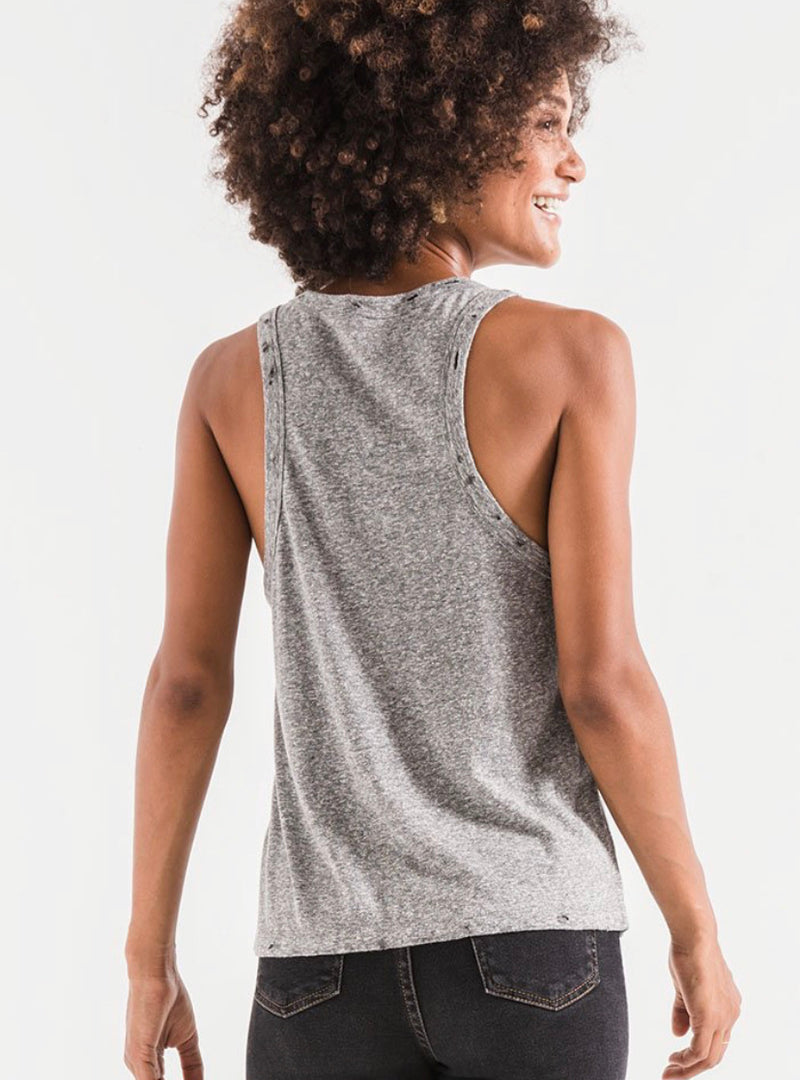 The Triblend Racer Tank Heather Gray