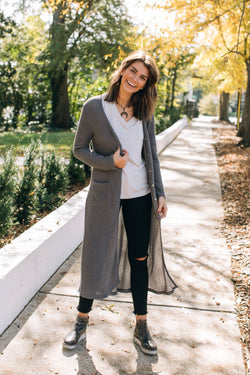 Cozy Time Knit Cardigan Sweater Charcoal (3819705237557)