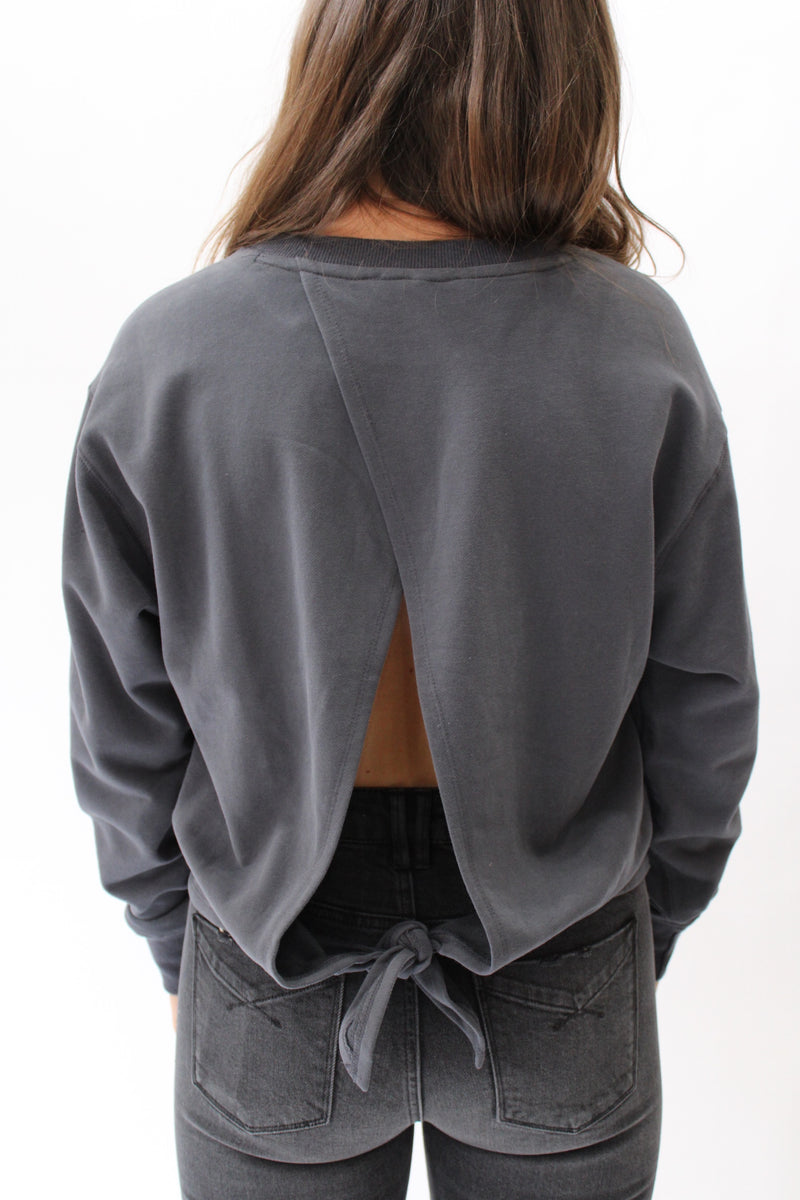Day to Night Open Back Pullover Charcoal
