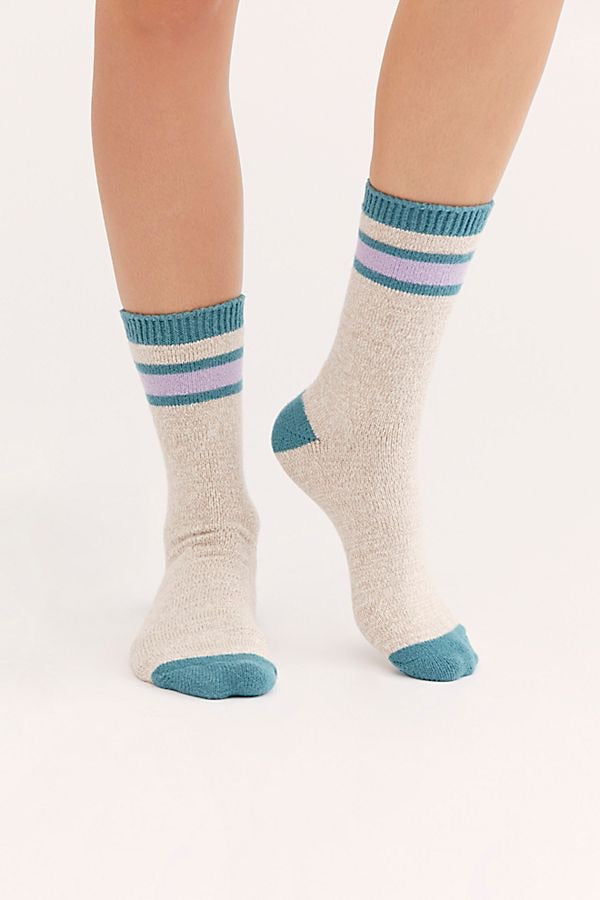 Quincy Cozy Stripe Socks Grey