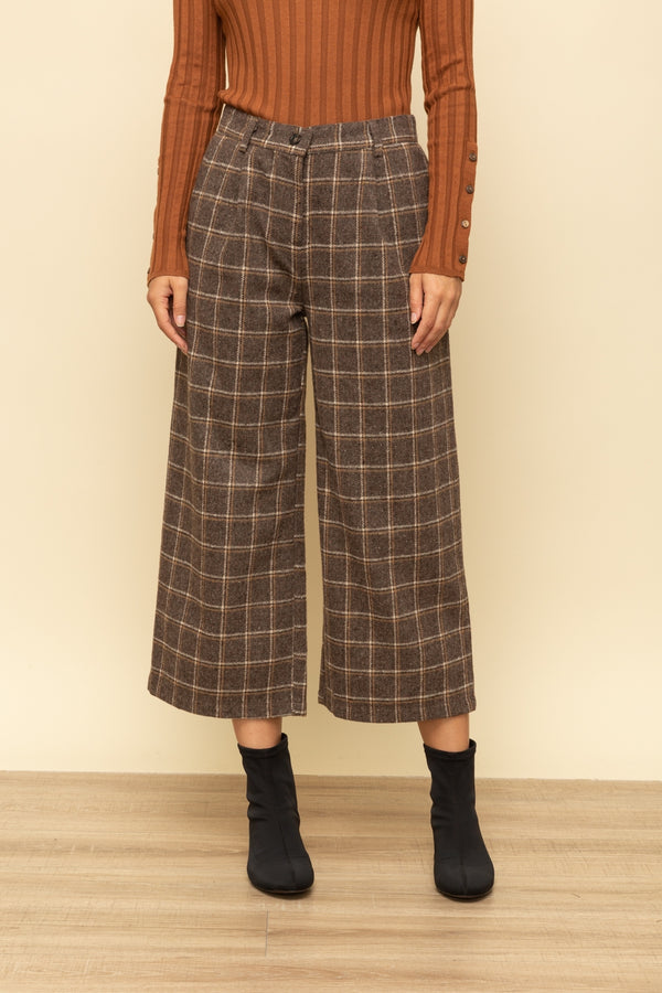 Aren't You Plaid Wide Leg Pant Mocha