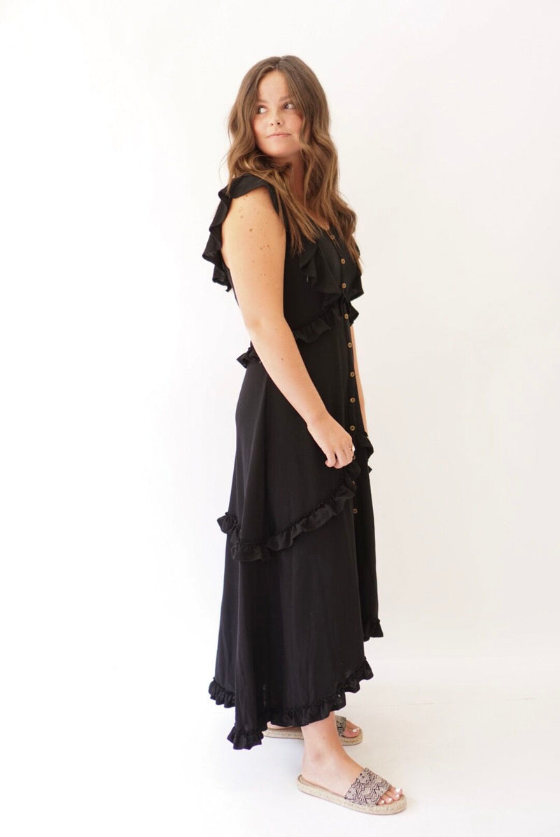 Vintage Ruffle Maxi Dress Black (3774923276341)