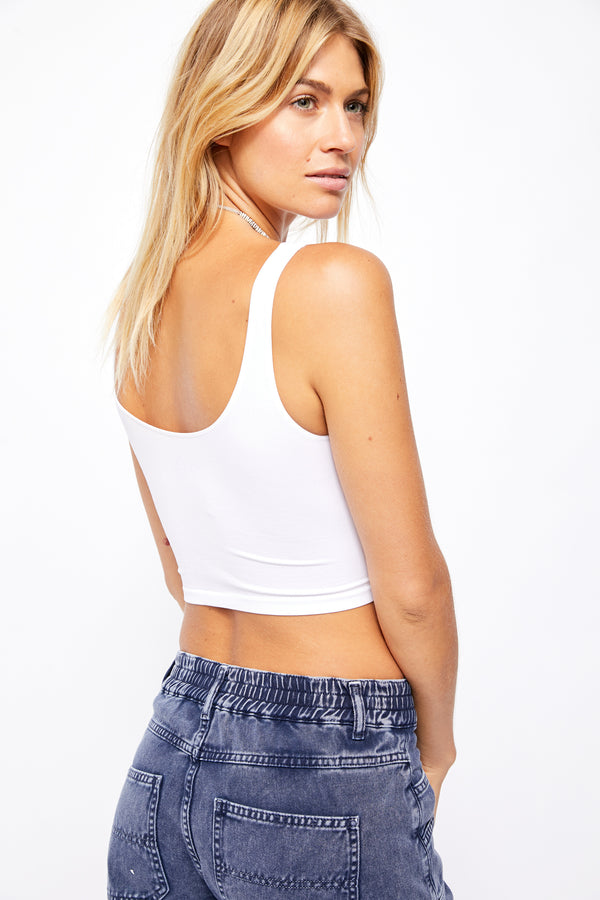 Scoop Neck Crop White