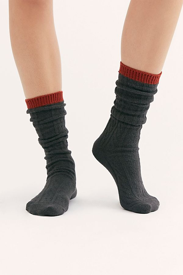 Koda Cable Slouchy Socks Grey (3819323228213)