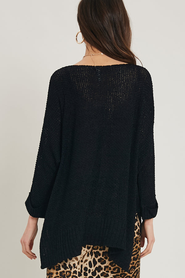 Summer Love V Neck Sweater Black