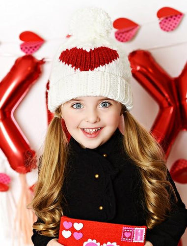 Heart Knit Hat- Red
