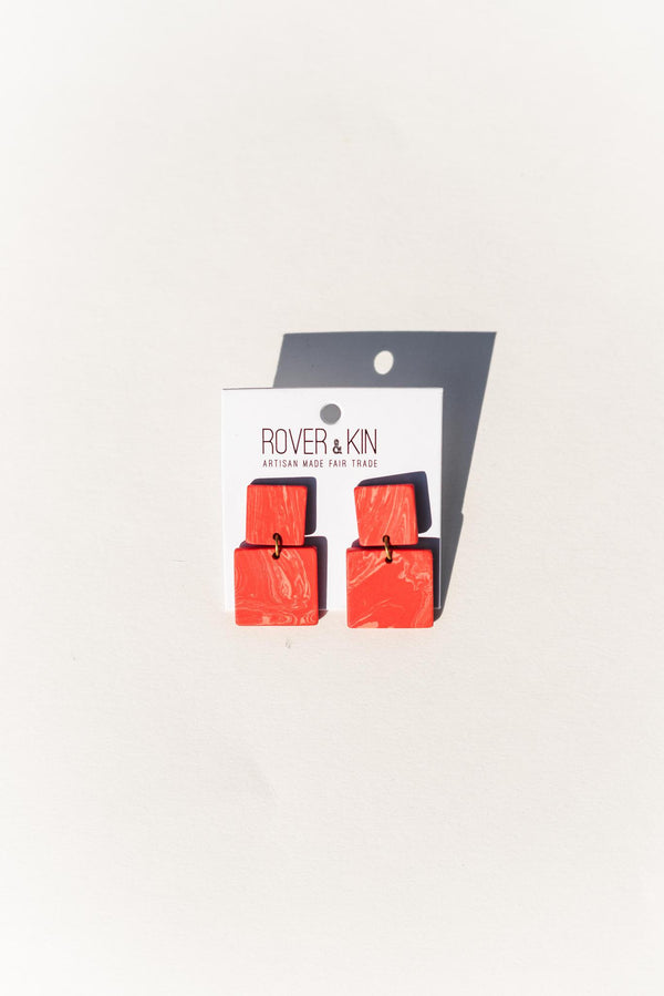 Square Marble Earrings