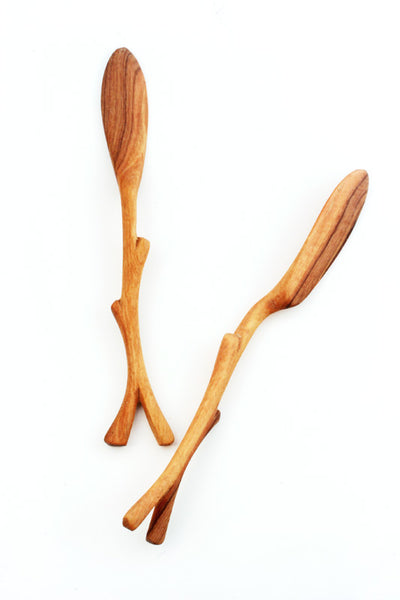 Hand Carved Wild Olive Wood Spreader