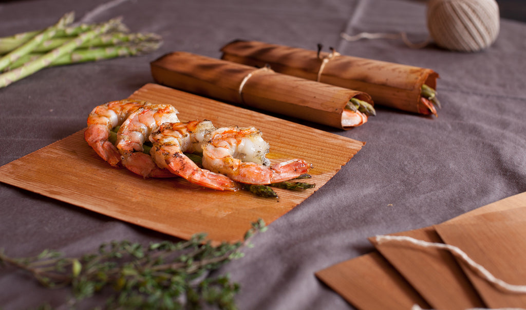 Cedar Wrapped Shrimp with Asparagus