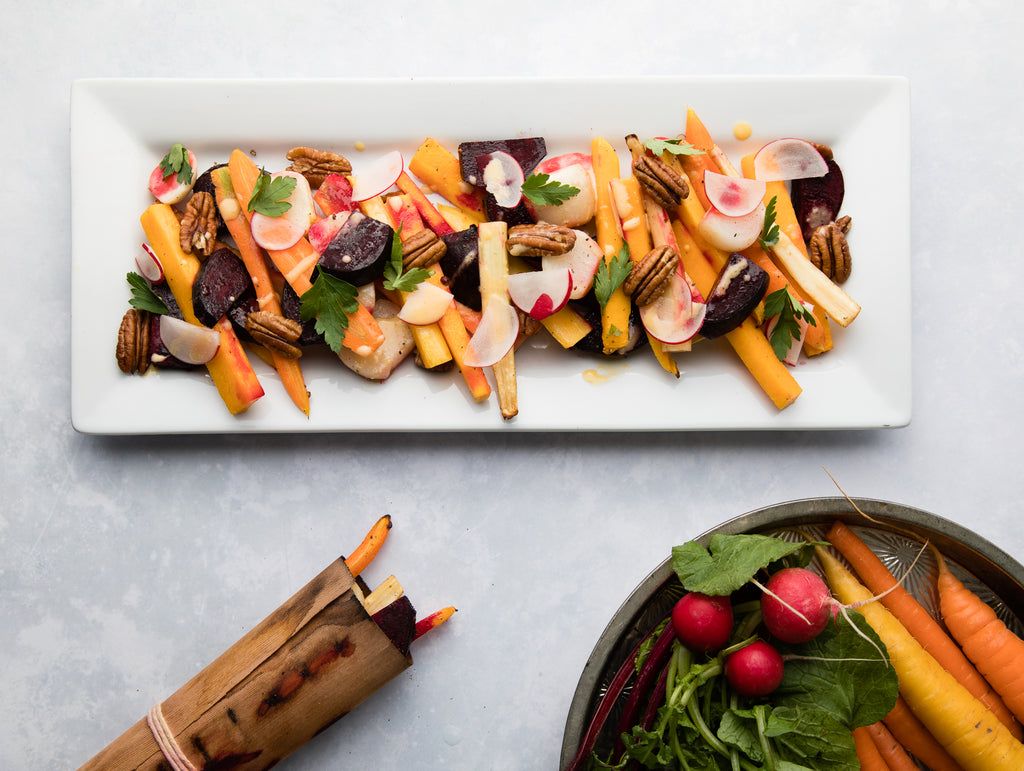 Cedar Wrapped Root Vegetable Salad
