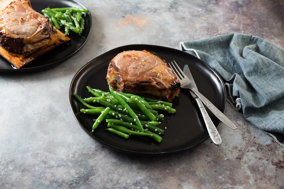 Cedar Planked Sweet & Spicy Pork Chops with Smoky Green Beans