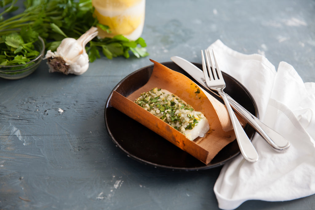 Cedar Wrapped Cod with preserved Lemon