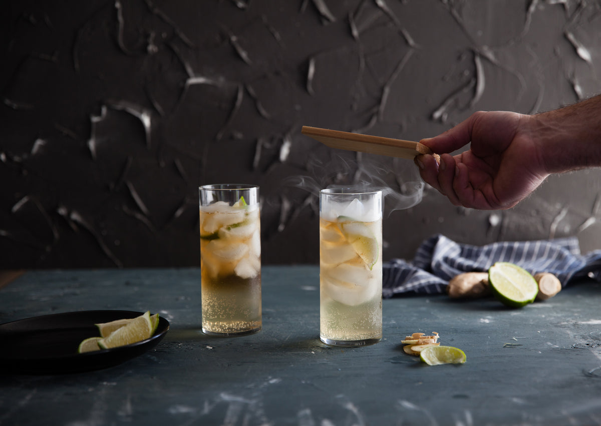 Smoky Dark and Stormy Cocktail