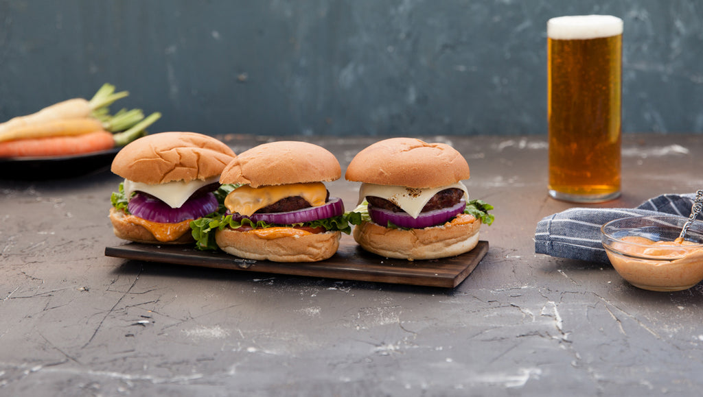 Hickory Planked Cheeseburgers with Paprika Mayo