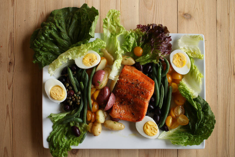 Nicoise Salad with Cedar Planked Steelhead