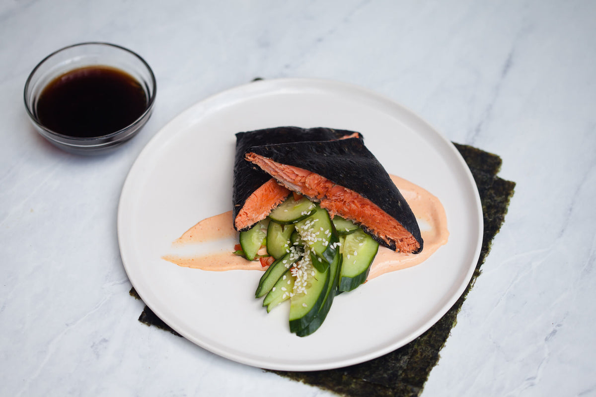 Nori wrapped Cedar Planked Salmon with Sesame Cucumber Salad