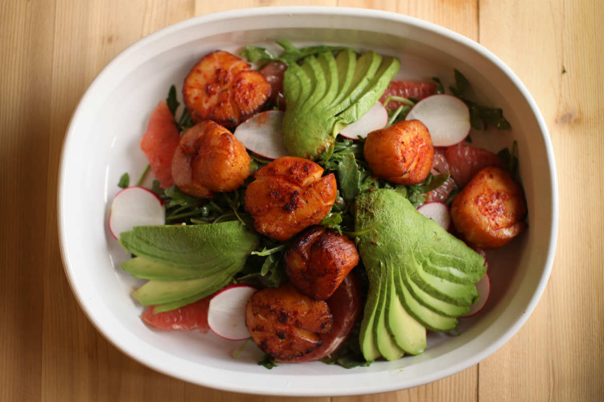 Smoked Scallops Salad with Arugula, Grapefruit, and Avocado