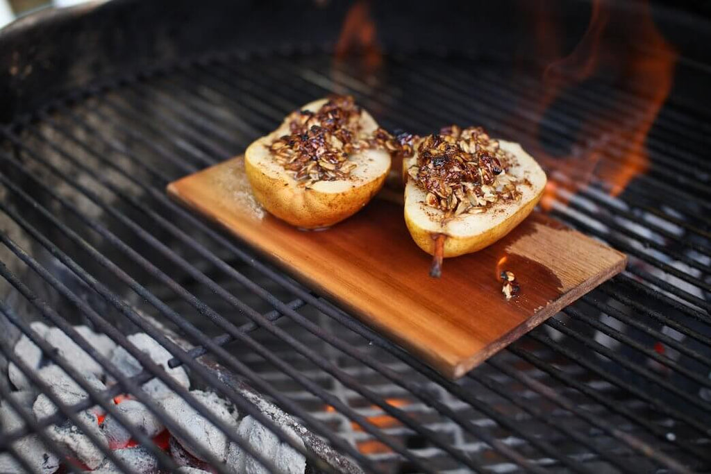 Pears, Pecans + Cheddar Cheese on an Alder Grilling Plank