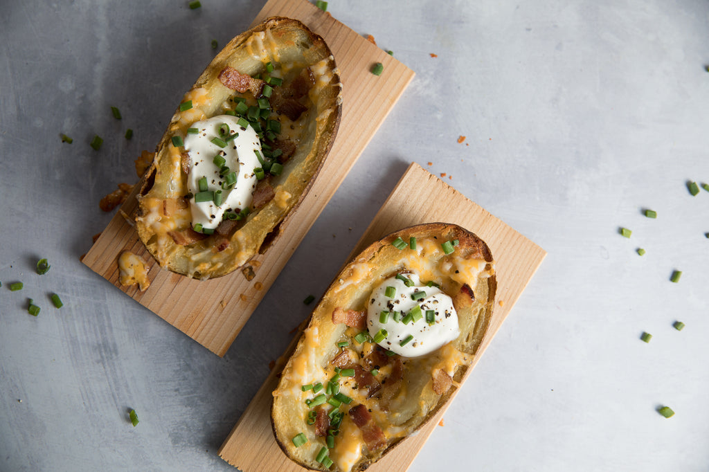 Planked Bacon Cheddar Potato Skins
