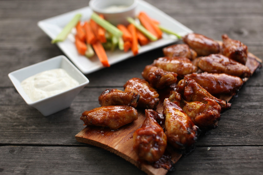 Game Day Chicken Wings on Alder Grilling Planks