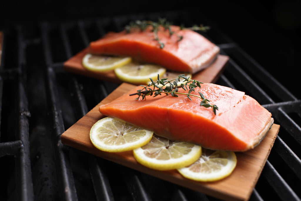 Cedar Plank Salmon with Lavender Honey Glaze