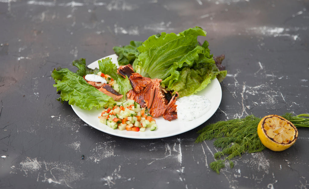 Cedar Planked Cured Sockeye Lettuce Wraps