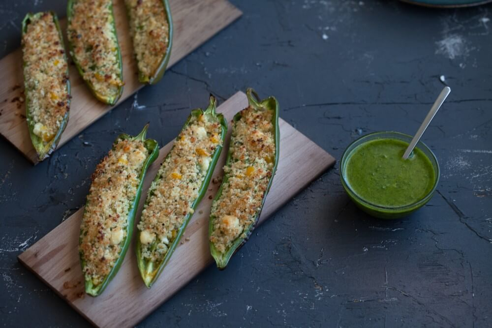 Maple Planked Stuffed Anaheim Peppers with Chimichurri Sauce