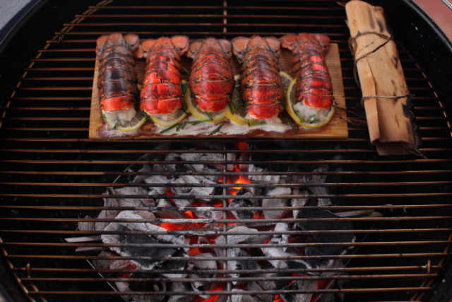 Cedar Planked Lobster Tails