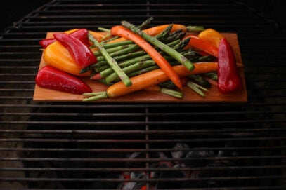 Cooking Vegetables on a Grilling Plank