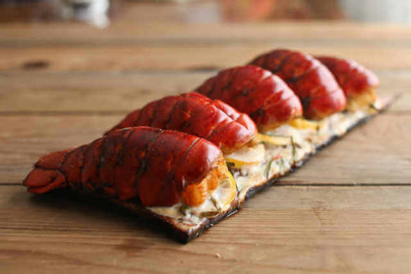 Lobster Tails on Cedar Plank