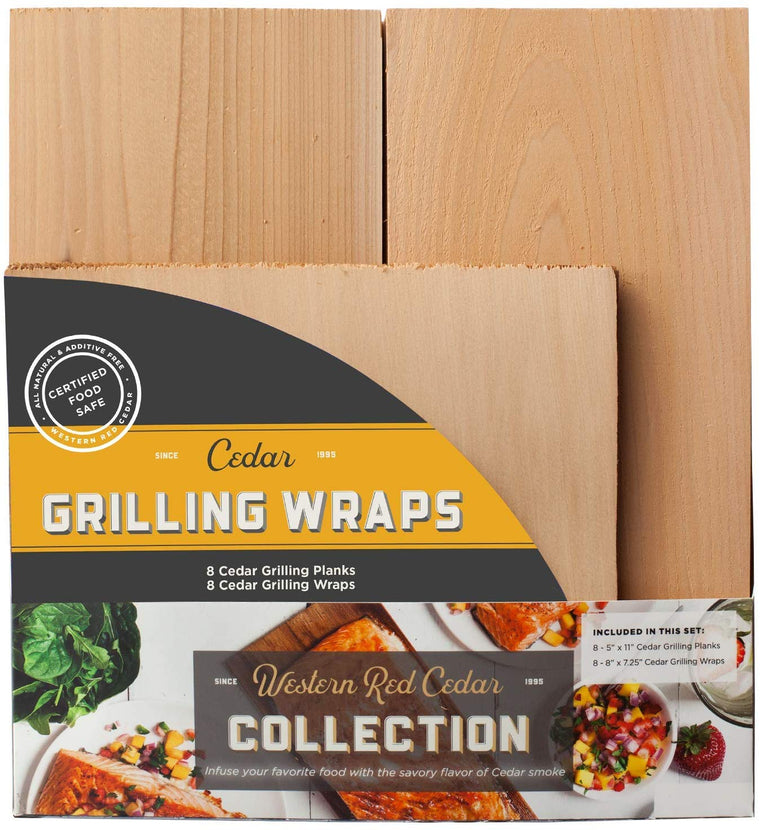 Cedar Grilling Plank and Grilling Wrap Variety Pack - 16 Pieces