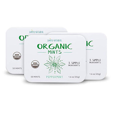 Organic Breath Mints, Peppermint, 50-Piece Tins, (Pack of 3)