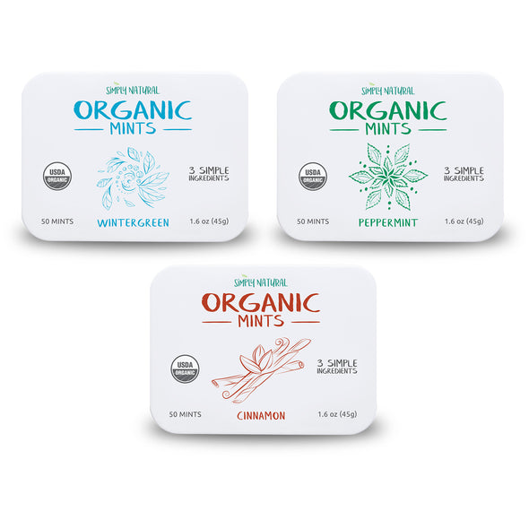 Organic Breath Mints, Assorted, Cinnamon, Peppermint, Wintergreen, 50-Piece Tins, (Pack of 3)