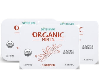 Organic Breath Mints, Cinnamon, 50-Piece Tins, (Pack of 3)