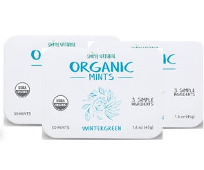Organic Breath Mints, Wintergreen, 50-Piece Tins, (Pack of 3)
