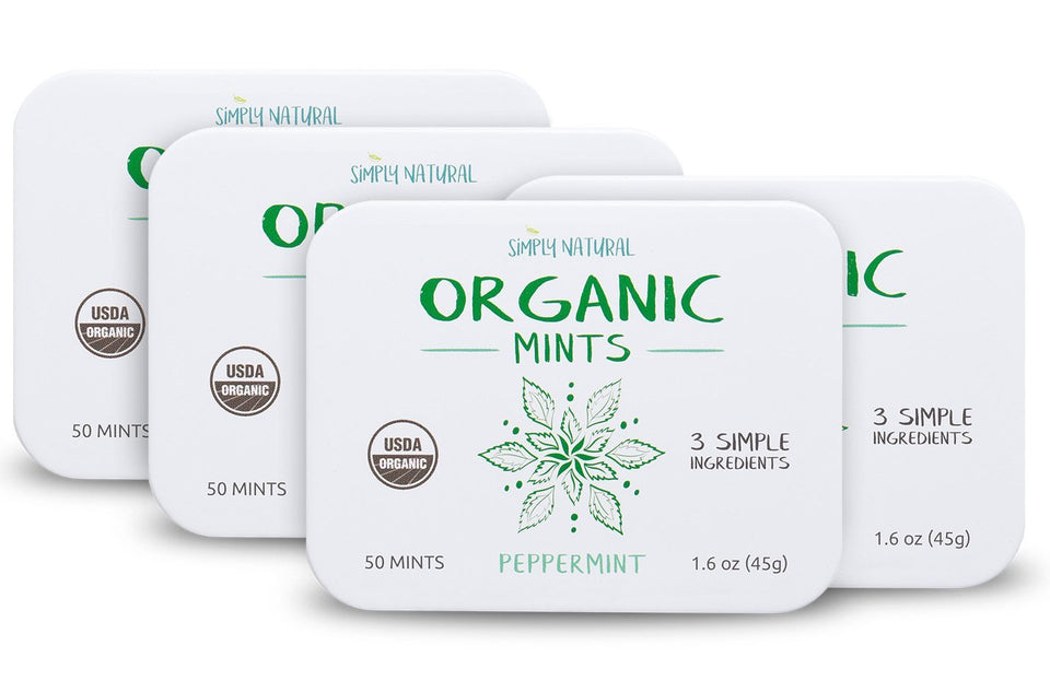 Organic Breath Mints, Peppermint, 50-Piece Tins, (Pack of 4)