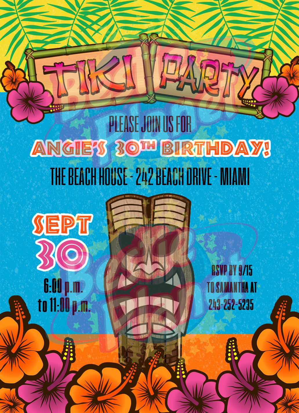 Personalized Tiki Party Invitations
