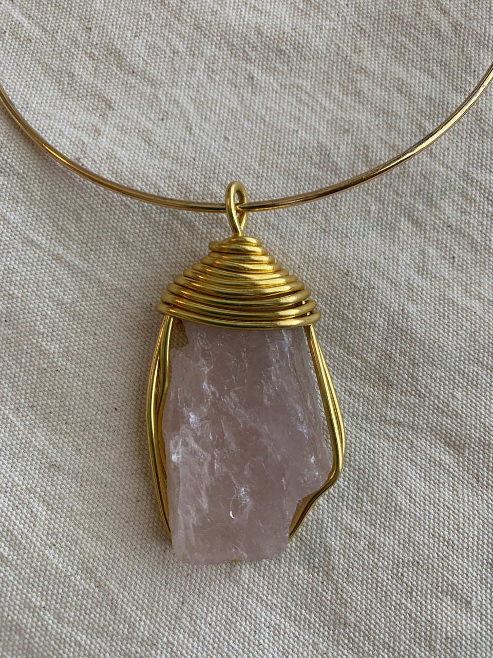 Raw rose quartz choker