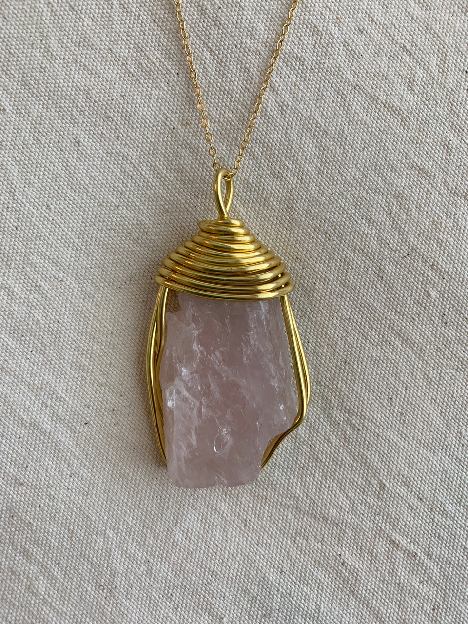 Raw rose quartz large necklace