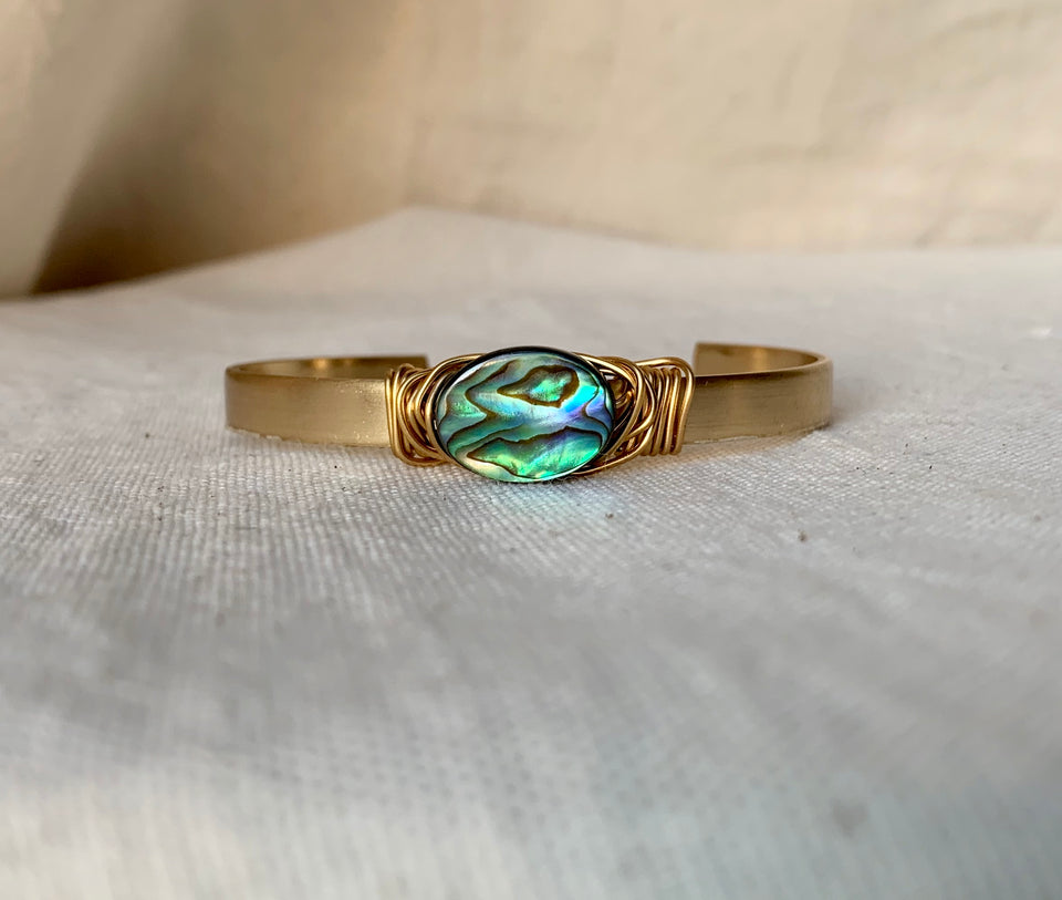 Abalone seashell small cuff