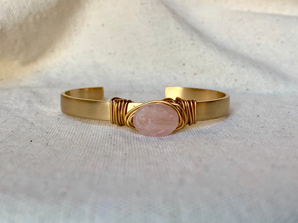 Rose quartz small cuff