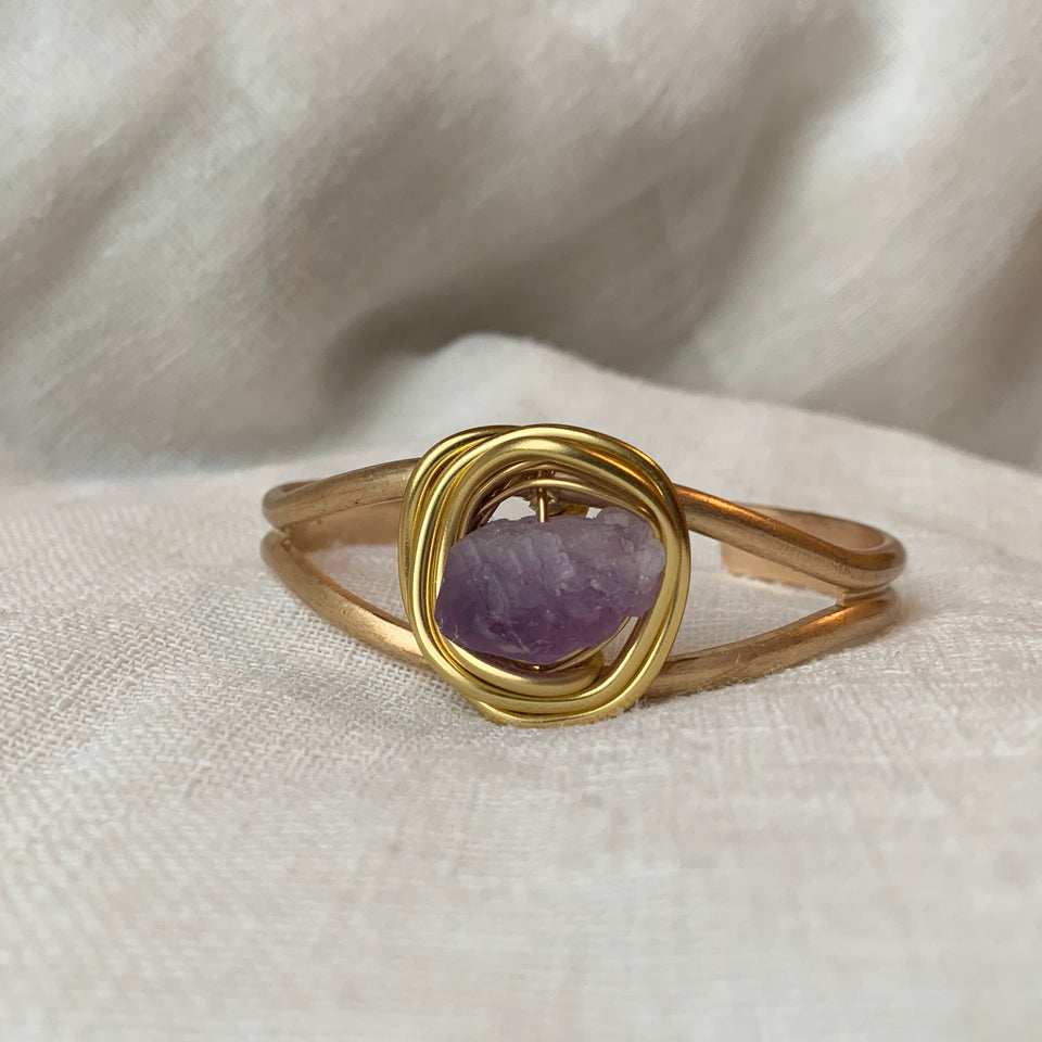Raw Amethyst medium cuff