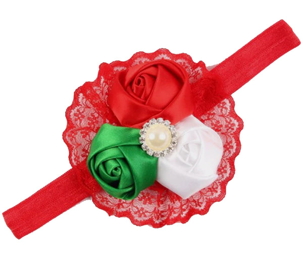 Rose and Lace Christmas Headband