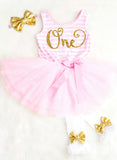First Birthday Dress Pink and Gold First Birthday Tutu Dress